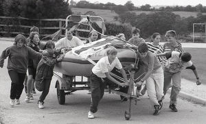 Lifeboat Push, Fowey, Cornwall. September 1990
