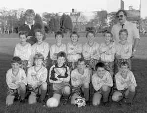Lostwithiel CP School football team, Lostwithiel, Cornwall. February 1990
