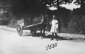 Member of the First World War Women's Land Army standing with a horse and cart