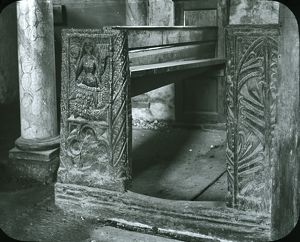 The Mermaid of Zennor bench end in Zennor Church, Cornwall. Around 1925