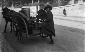 Milk cart, Lemon Street, Truro, Cornwall. Probably 1923