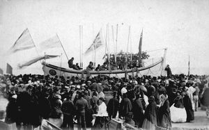 Naming ceremony of Mullion's first lifeboat, the Daniel J. Draper, Penzance, Cornwall