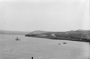 Padstow railway station from across the estuary, Cornwall. Before 1907