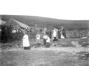 Procession across the beach at Church Cove, Gunwalloe, Cornwall. Early 1900s
