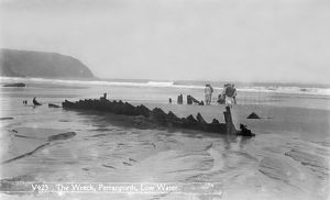 Remains of the French three-masted barque Seine at Perranporth, Cornwall. 1901