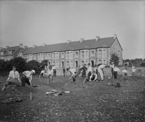 Schoolchildren digging in a field, St Columb Minor Churchtown, Cornwall. 1910