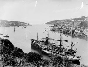 Ships in the harbour at Fowey, Cornwall. 1914