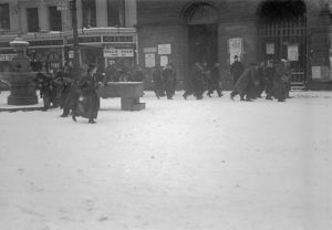 Snowball Fight, Boscawen Street, Truro, Cornwall. 8th January 1918