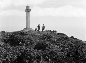 The stone cross at Dodman Point, Cornwall. 7th June 1909