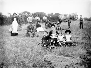 Taking a break at harvest time, Polpenwith, Constantine, Cornwall. Around 1884