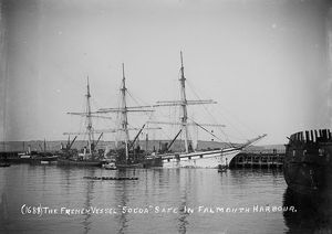 The three-masted French ship Socoa in Falmouth Harbour, Cornwall. 1906