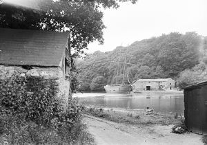 A topsail schooner beached at Lerryn, St Veep, Cornwall. Early 1900s