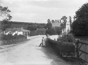 Tresillian Bridge with lady and dog, Tresillian, Cornwall. Around 1904