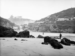 Trevaunance Beach at low tide, St Agnes, Cornwall. Probably 20th July 1910