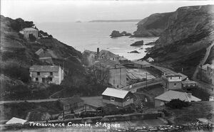Trevaunance Coombe with steamworks in foreground below Wheal Friendly, St Agnes, Cornwall