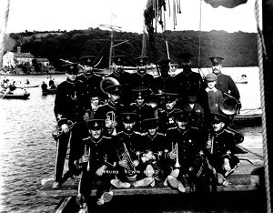 Truro Town Band at Malpas regatta, Cornwall. Probably 1909