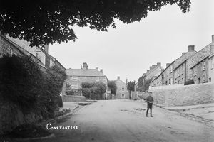 View up the hill in Constantine, Cornwall. Early 1900s