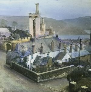 View from above Place House, looking up estuary. Fowey, Cornwall. Around 1925