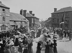 places/st just penwith/wesleyan sunday school procession entering market