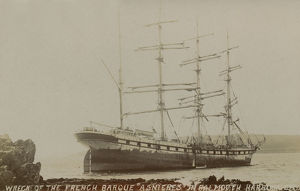 Wreck of the French four-masted barque Asnieres grounded at St Mawes, St Just in Roseland, Cornwall
